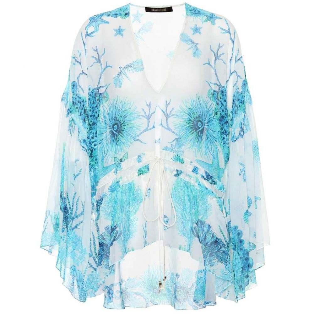 ロベルト カヴァリ Roberto Cavalli レディース トップス【Floral-printed silk top】Turquoise