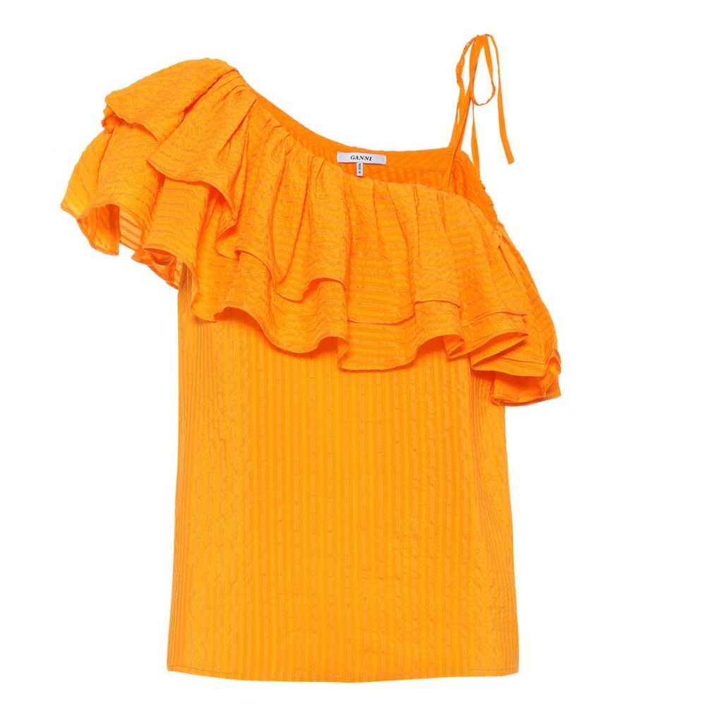ガニー Ganni レディース トップス【Wilkie silk and cotton top】Turmeric Orange