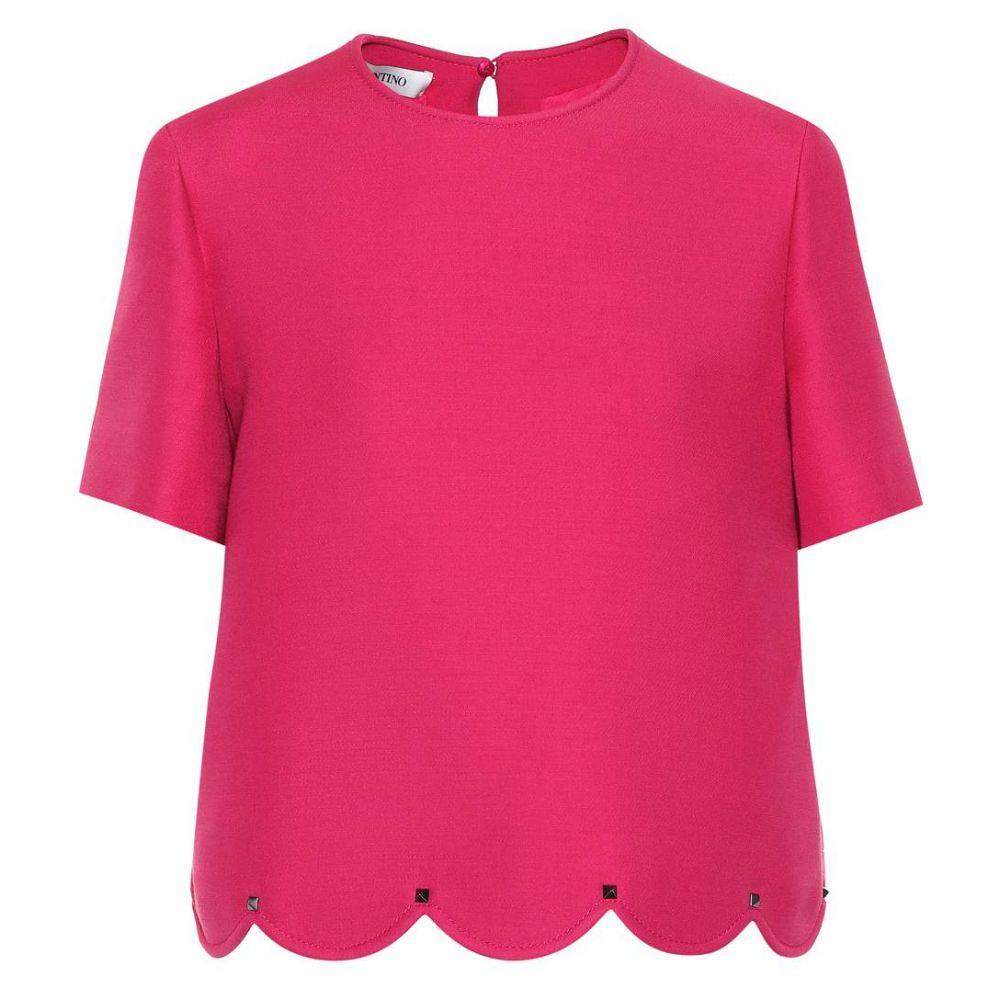 ヴァレンティノ Valentino レディース トップス【Scalloped wool and silk top】Disco Pink