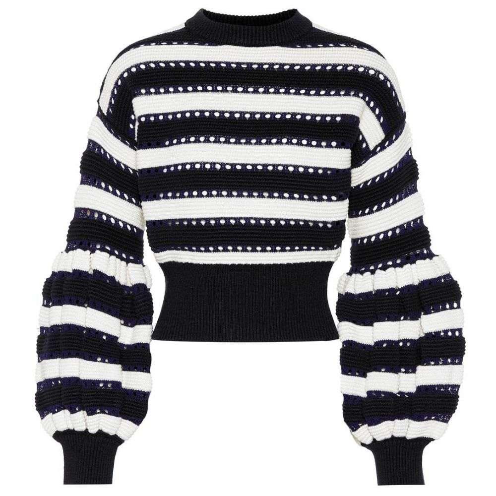 セルフ ポートレイト Self-Portrait レディース トップス ニット・セーター【Cotton and wool-blend sweater】navy-cream