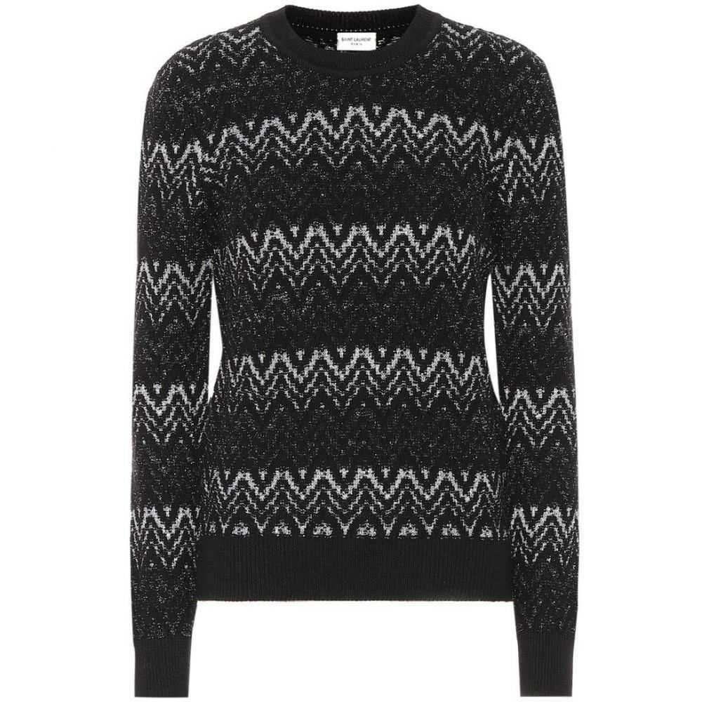 イヴ サンローラン Saint Laurent レディース トップス ニット・セーター【Zigzag wool-blend sweater】Black
