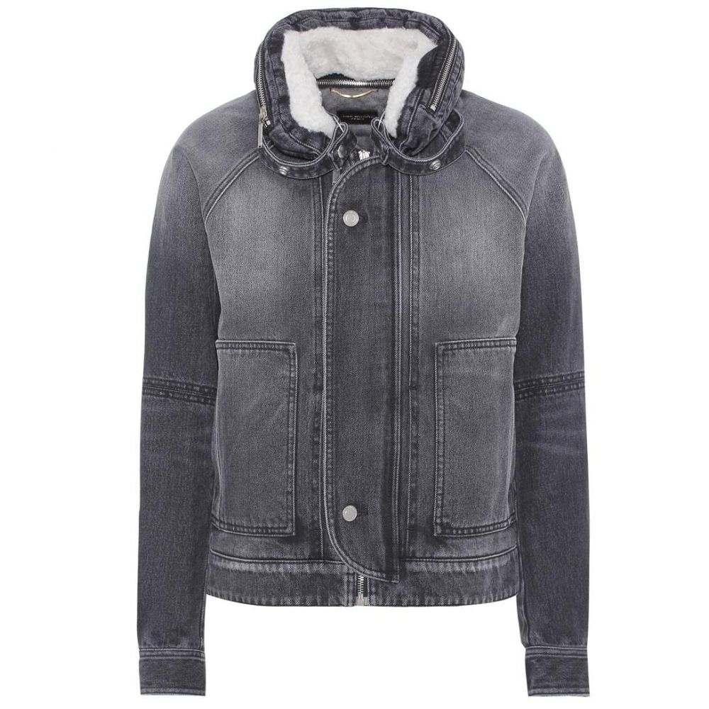 イヴ サンローラン Saint Laurent レディース アウター ジャケット【Shearling-lined denim jacket】Dark Medium Black