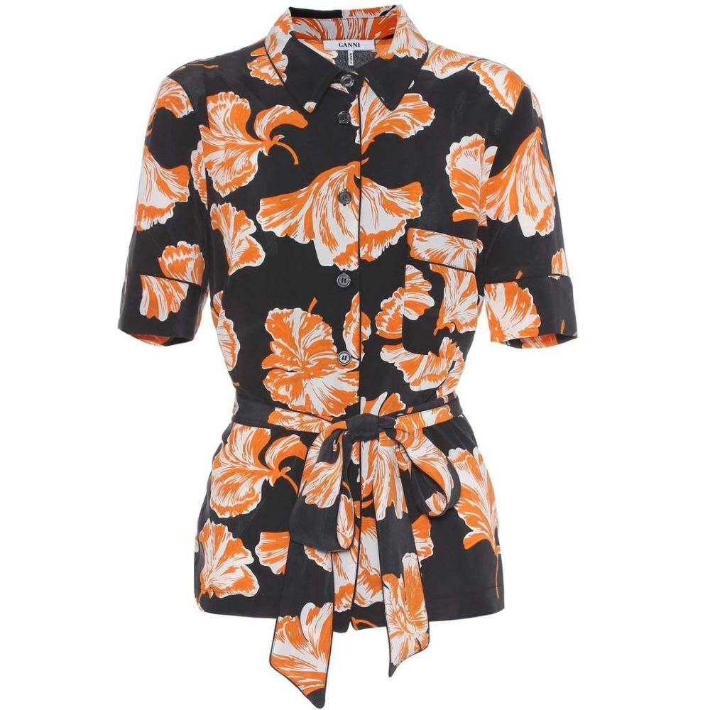 ガニー Ganni レディース トップス ブラウス・シャツ【Geroux floral-printed silk shirt】Black