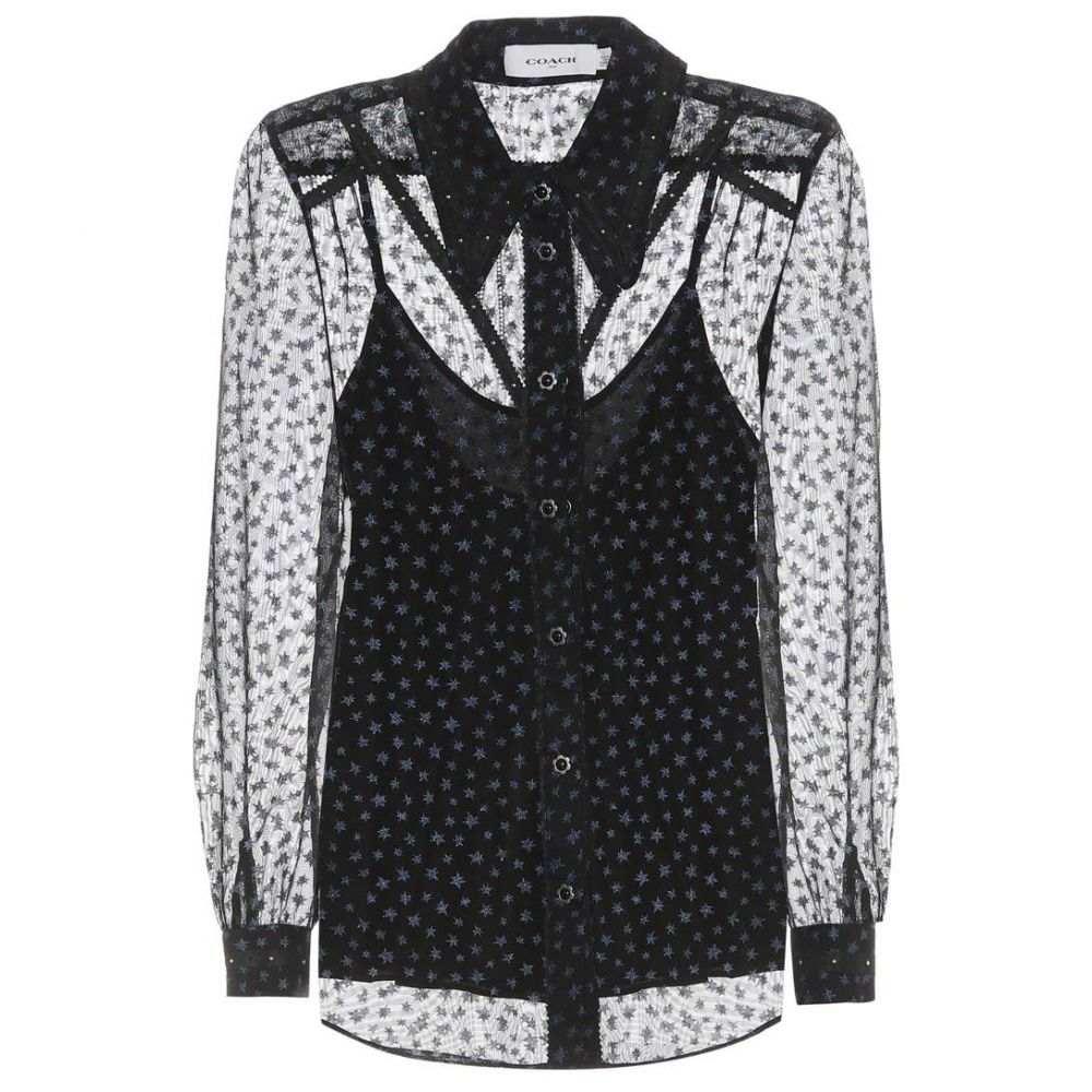 コーチ Coach レディース トップス ブラウス・シャツ【Star-printed georgette blouse】Navy