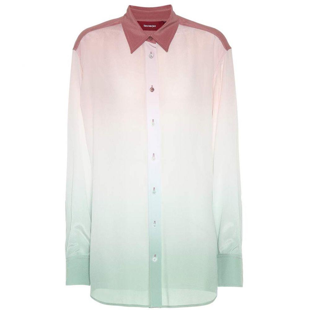 シエス マルジャン Sies Marjan レディース トップス ブラウス・シャツ【Ombre silk shirt】Dusty Green/Salmon