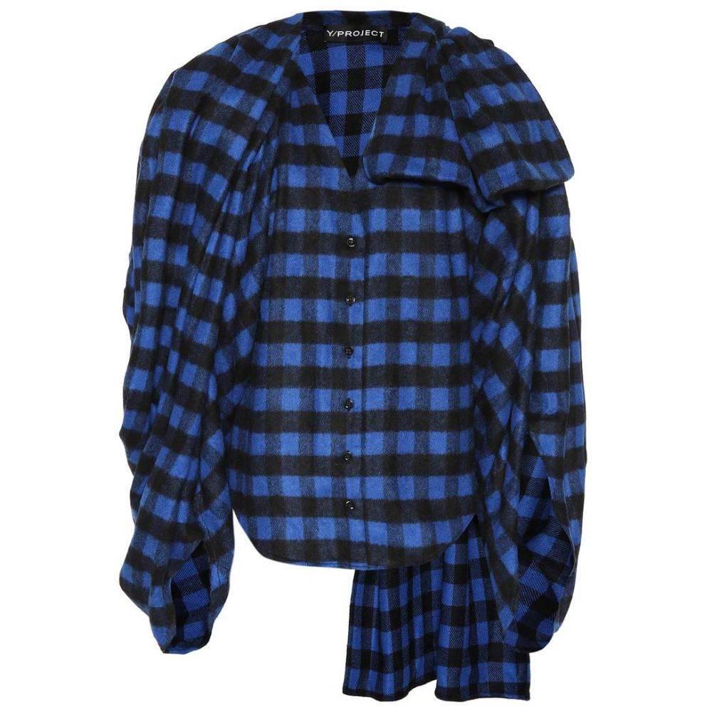 ワイプロジェクト Y/PROJECT レディース トップス【Wool-blend checked flannel top】blue/black
