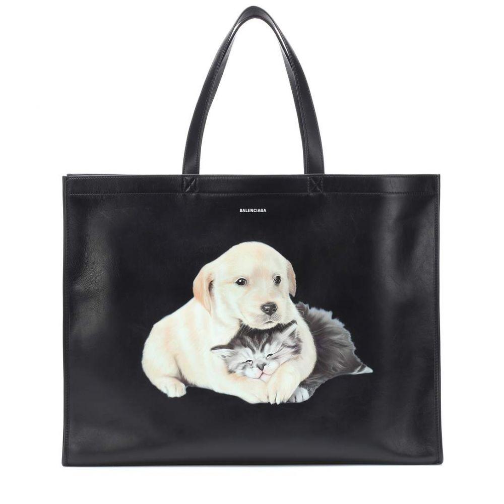 バレンシアガ Balenciaga レディース バッグ トートバッグ【Puppy and Kitten leather tote】Noir/L. Blanc