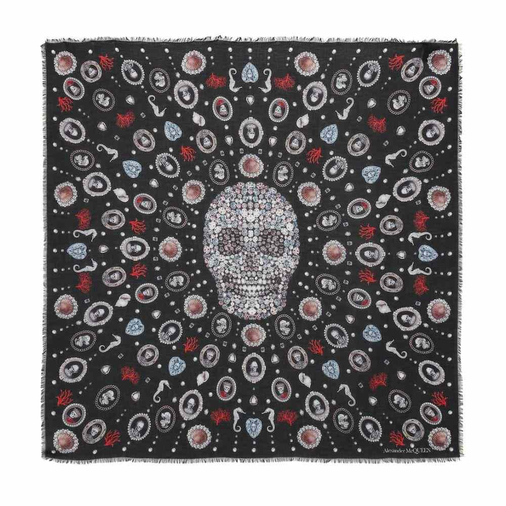 アレキサンダー マックイーン Alexander McQueen レディース マフラー・スカーフ・ストール【Lost At Sea silk chiffon scarf】Black/Red