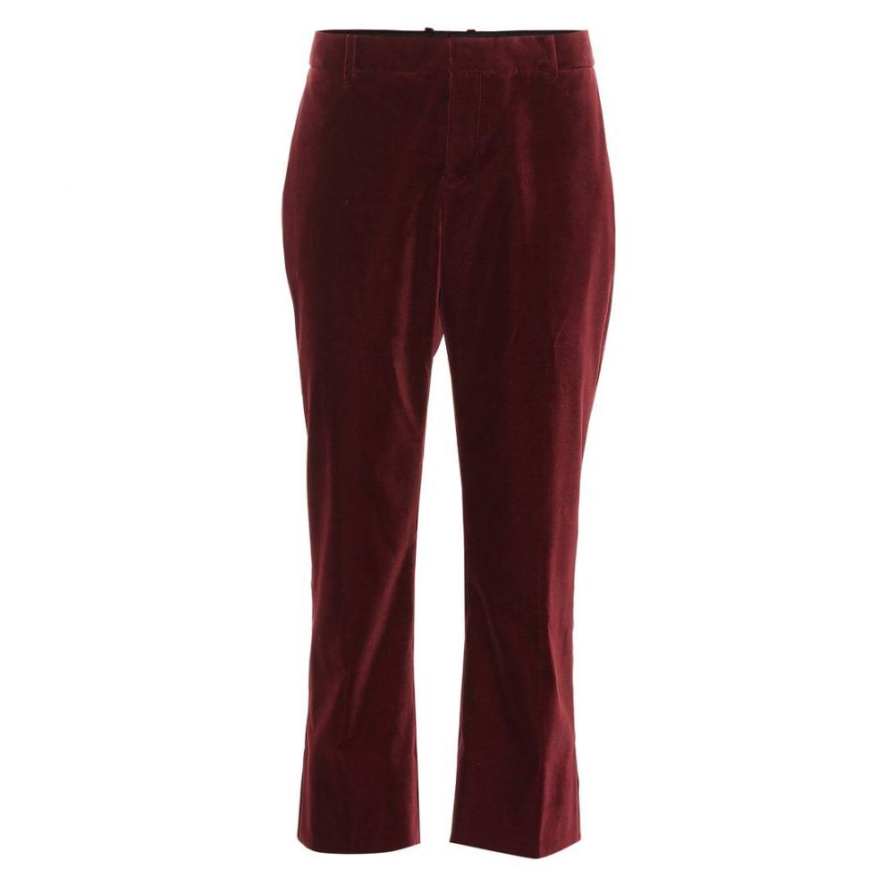イヴ サンローラン Saint Laurent レディース ボトムス・パンツ クロップド【Cropped velvet pants】Bordeaux