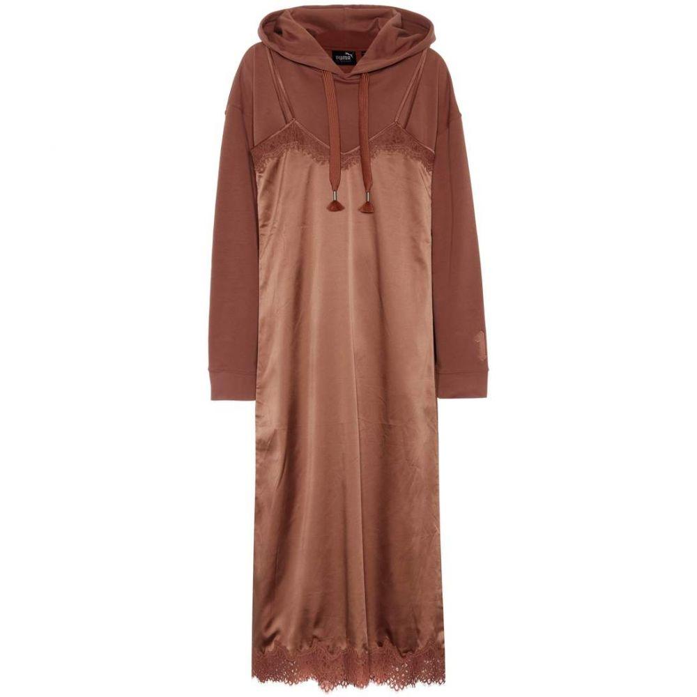 プーマ Fenty by Rihanna レディース ワンピース・ドレス ワンピース【Cotton-blend hoodie and slip dress】Friar Brown