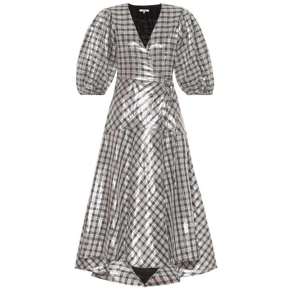 ガニー Ganni レディース ワンピース・ドレス ワンピース【Largarde metallic silk-blend dress】silver