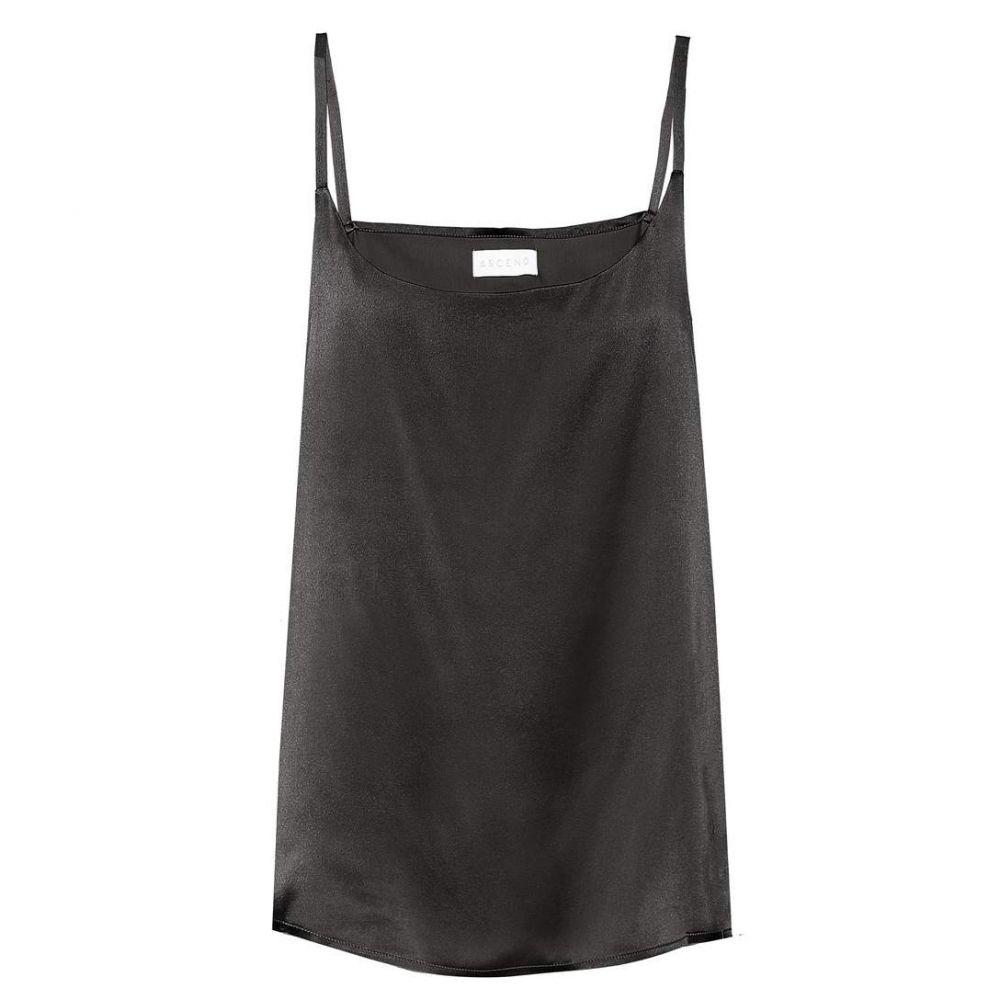 アッセーノ Asceno レディース インナー・下着 スリップ・キャミソール【Silk camisole】Jet Black