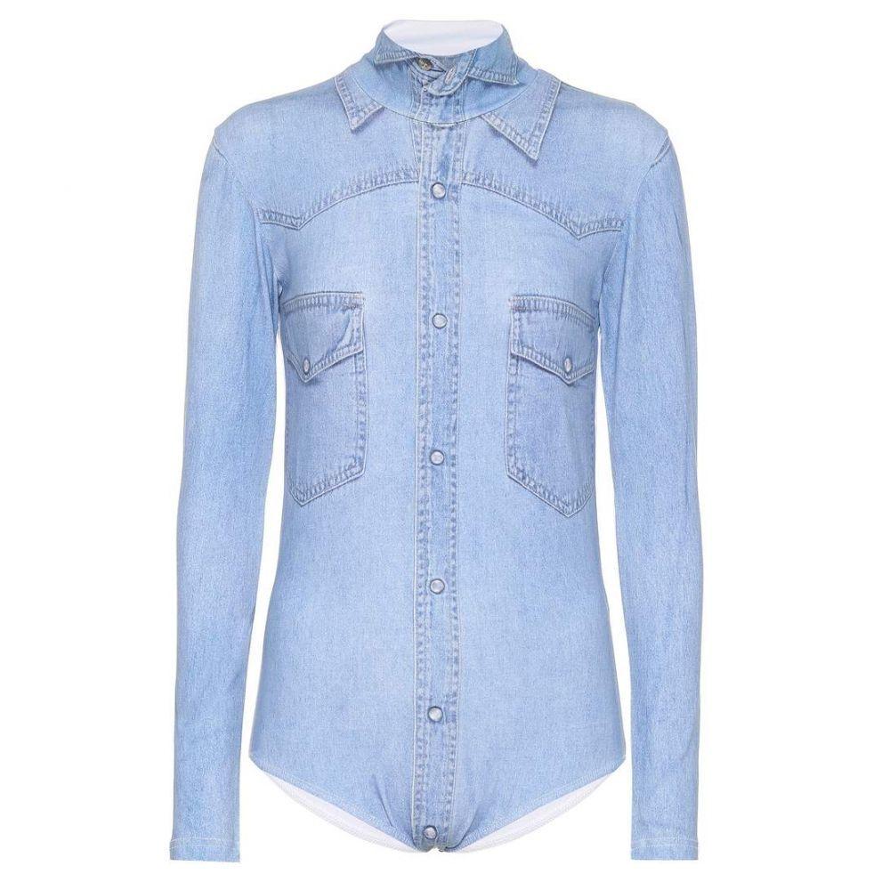 ヴェトモン Vetements レディース インナー・下着 ボディースーツ【Printed cotton-blend bodysuit】blue denim