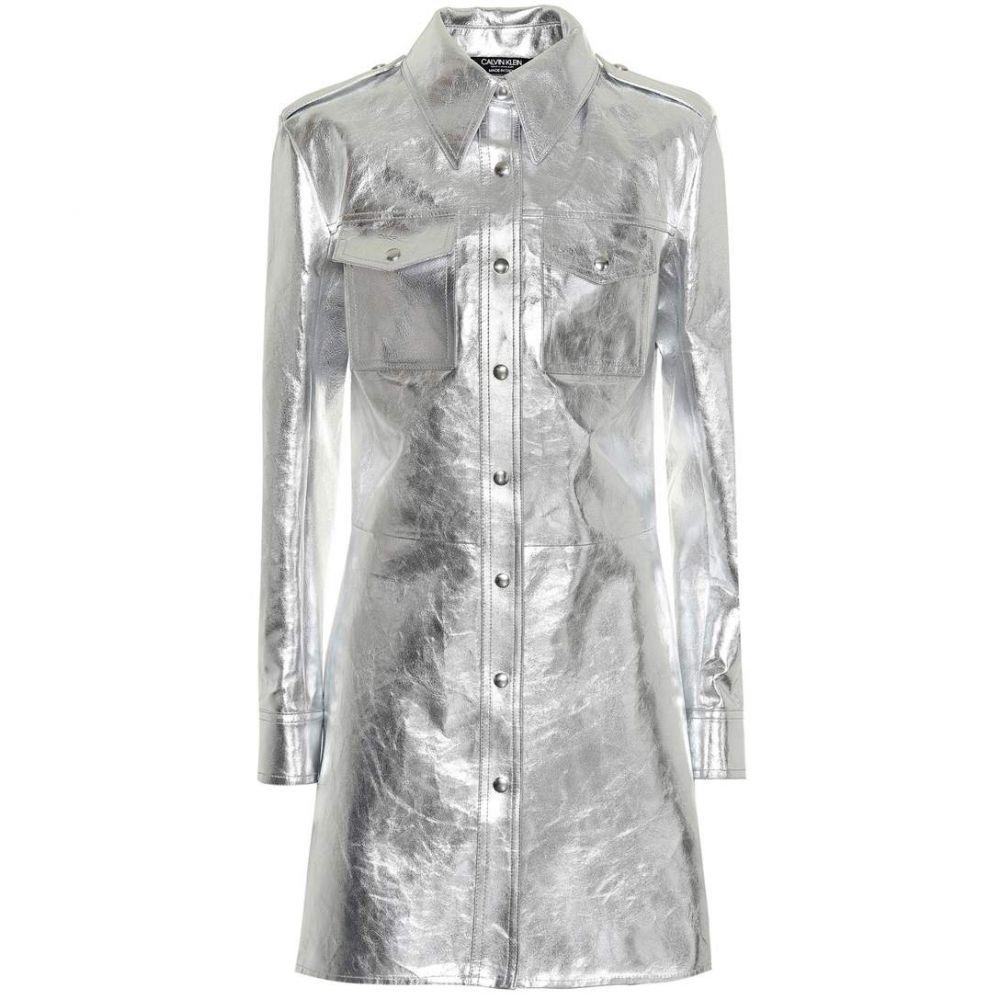 カルバンクライン Calvin Klein 205W39NYC レディース ワンピース・ドレス ワンピース【Metallic leather shirt dress】silver