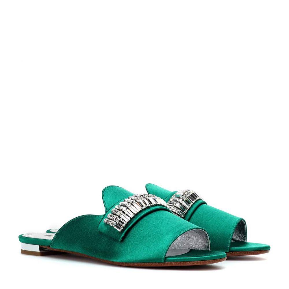 アクアズーラ Aquazzura レディース シューズ・靴 サンダル・ミュール【Winston embellished satin mules】Emerald Green