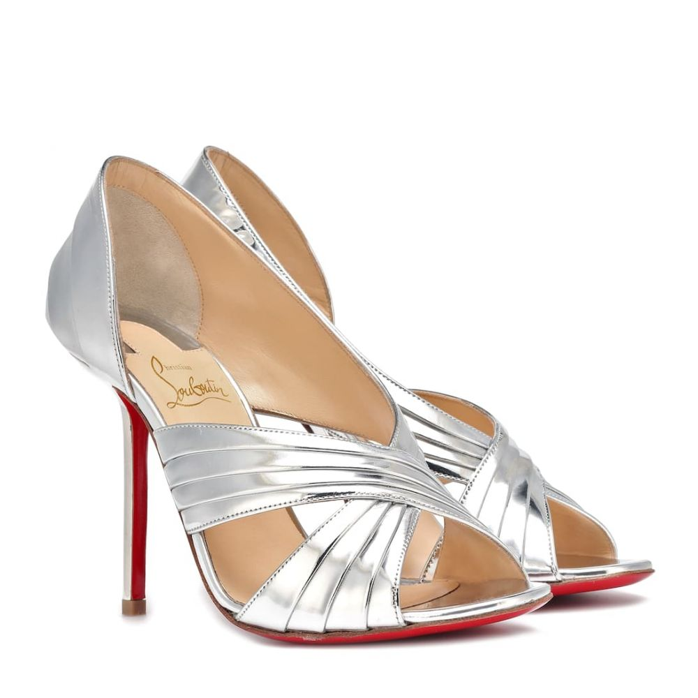クリスチャン ルブタン Christian Louboutin レディース シューズ・靴 サンダル・ミュール【Drapa Notta 100 leather sandals】Silver/Silver