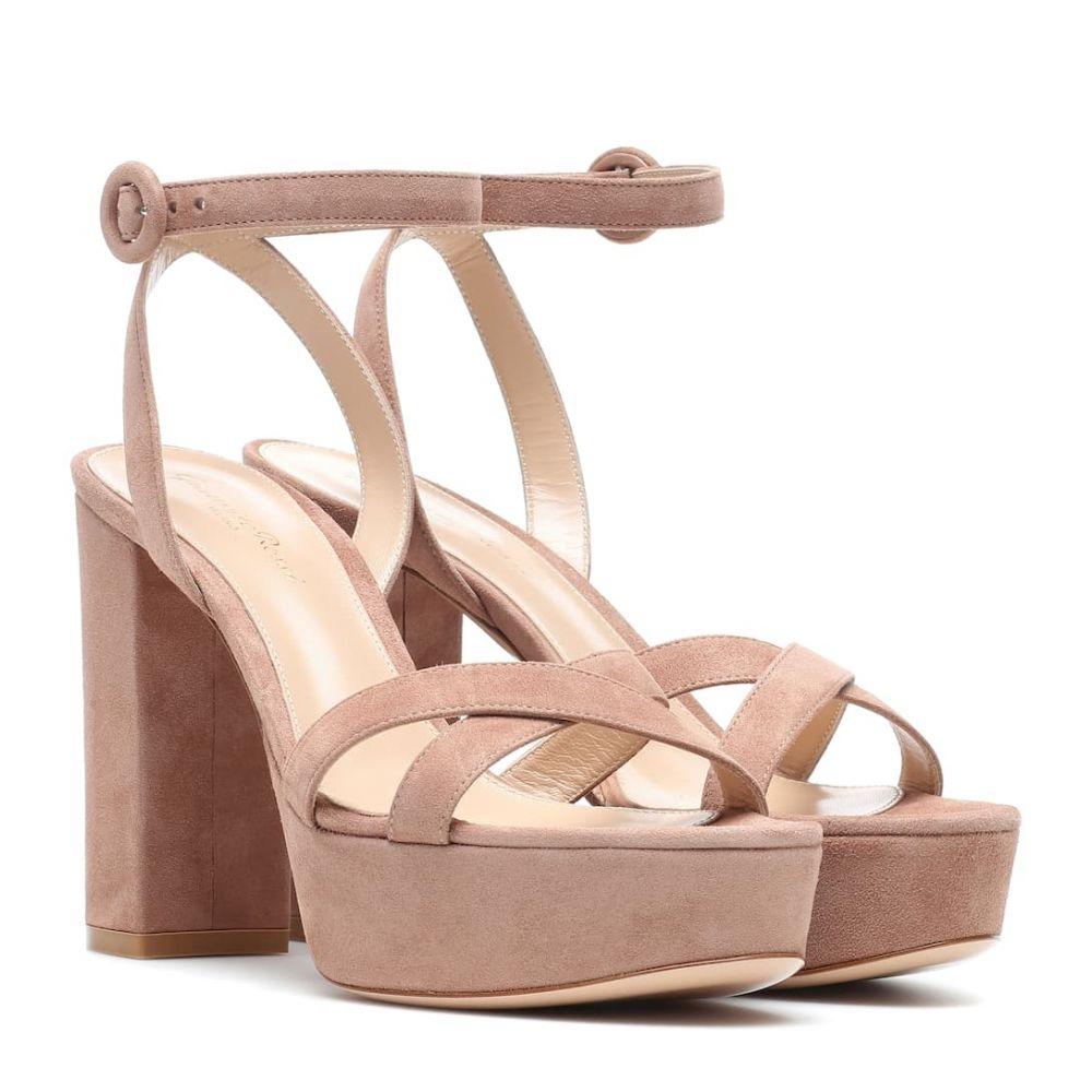 ジャンヴィト ロッシ Gianvito Rossi レディース シューズ・靴 サンダル・ミュール【Poppy 70 suede plateau sandals】Praline