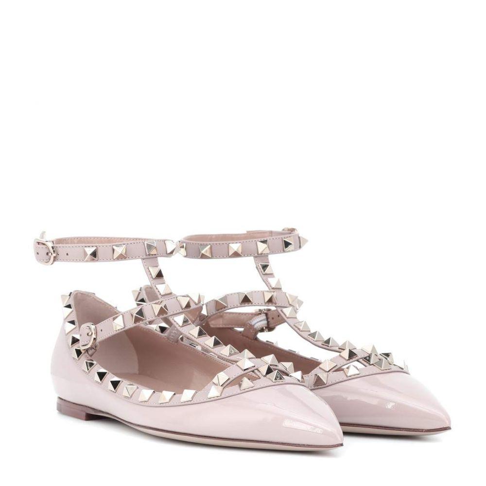 ヴァレンティノ Valentino レディース シューズ・靴 スリッポン・フラット【Garavani Rockstud patent leather ballet flats】poudre
