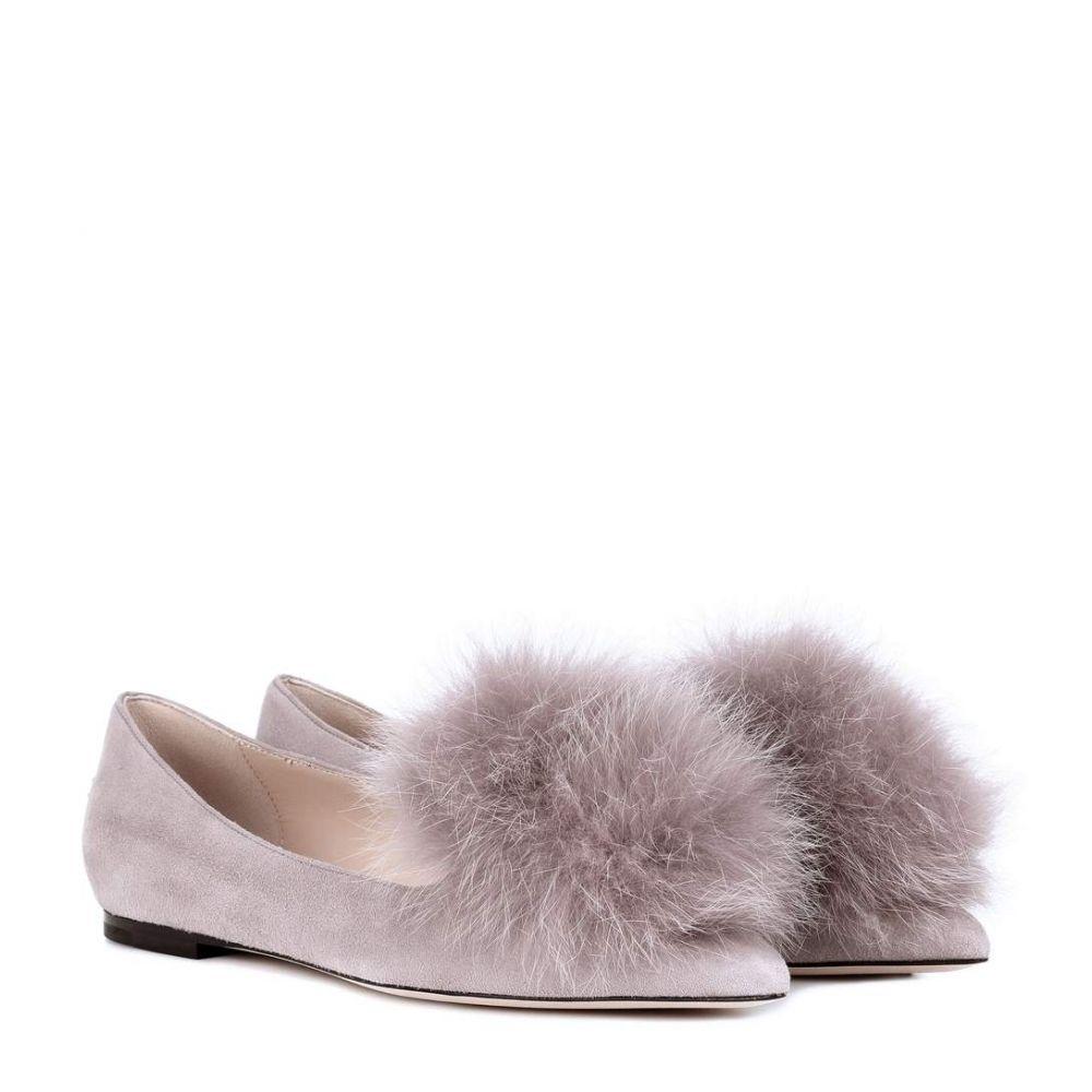 ジミー チュウ Jimmy Choo レディース シューズ・靴 スリッポン・フラット【Gale fur-trimmed suede ballet flats】Opal Grey/Grey