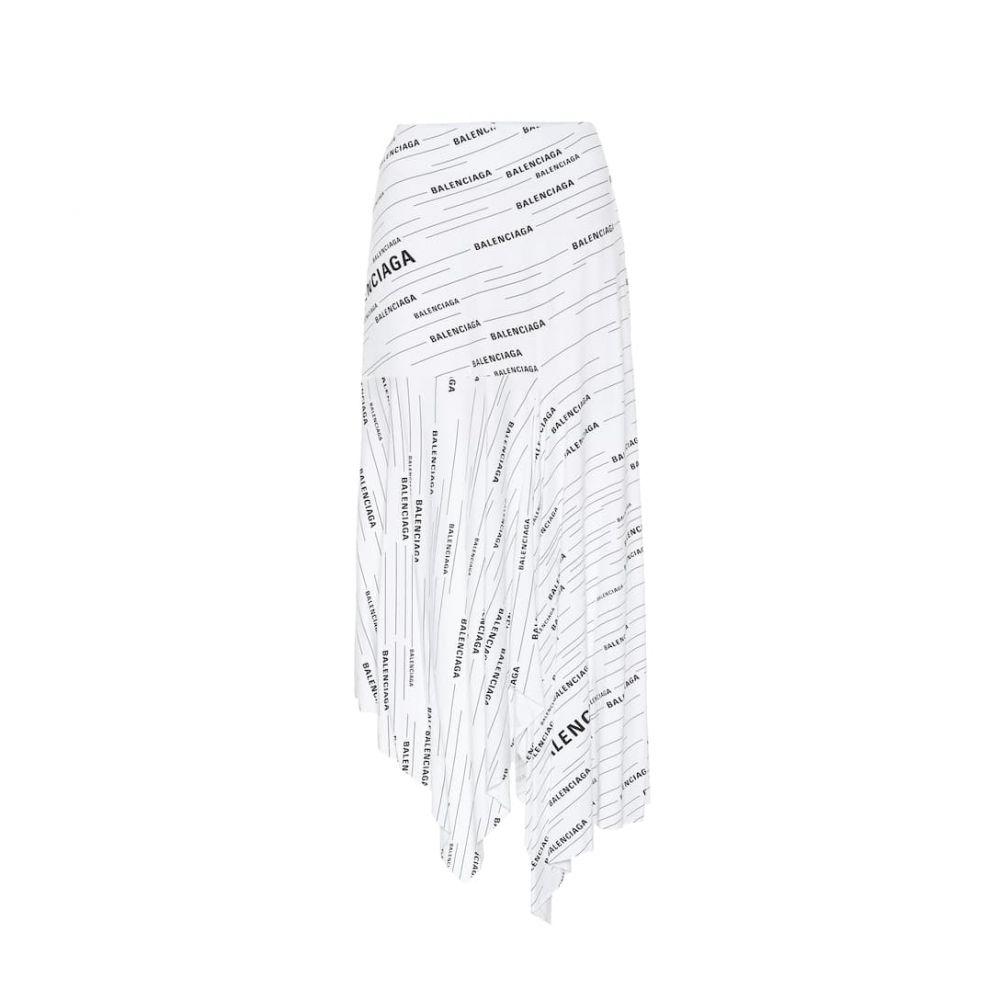 バレンシアガ Balenciaga レディース スカート ひざ丈スカート【Printed jersey midi skirt】White/Black