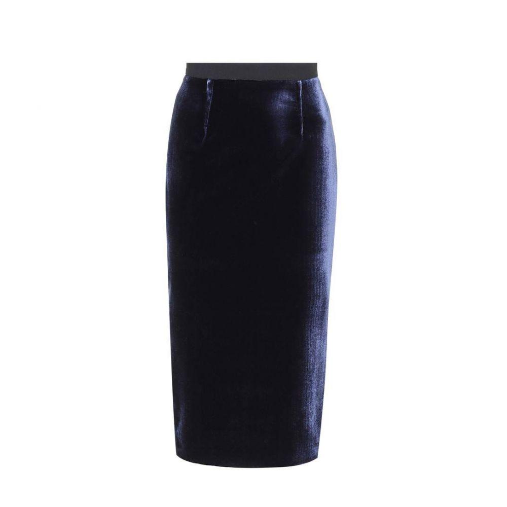 ローラン ムレ Roland Mouret レディース スカート【Arreton velvet and crepe skirt】Navy black