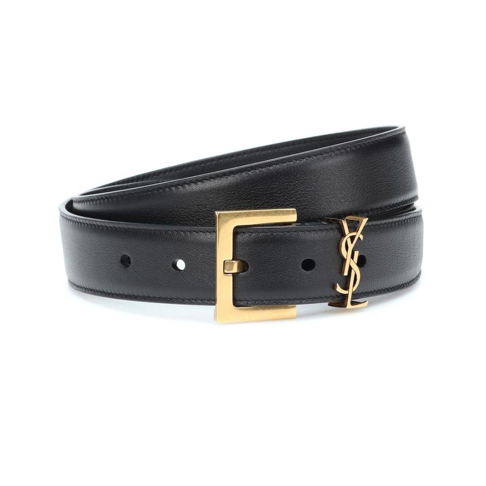 イヴ サンローラン Saint Laurent レディース ベルト【Monogram leather belt】Nero