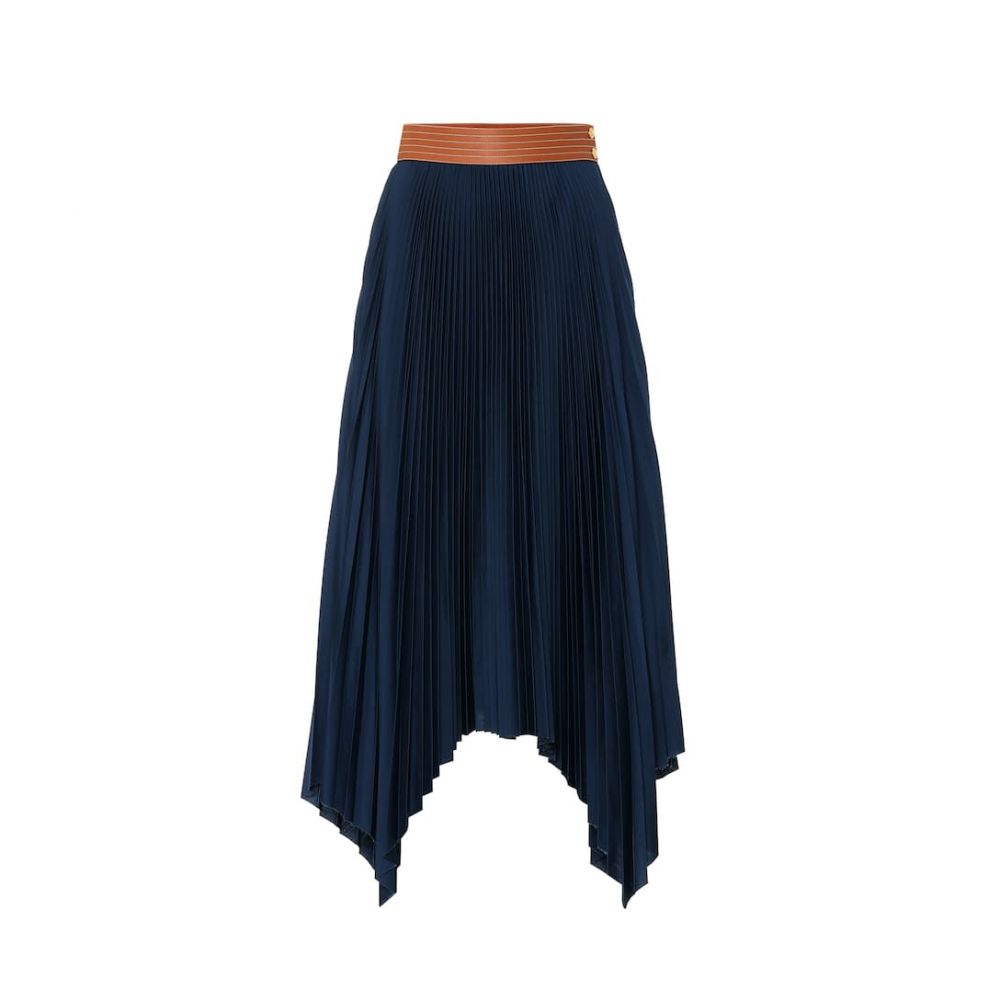 ロエベ Loewe レディース スカート ひざ丈スカート【Leather-trimmed pleated skirt】Navy Blue