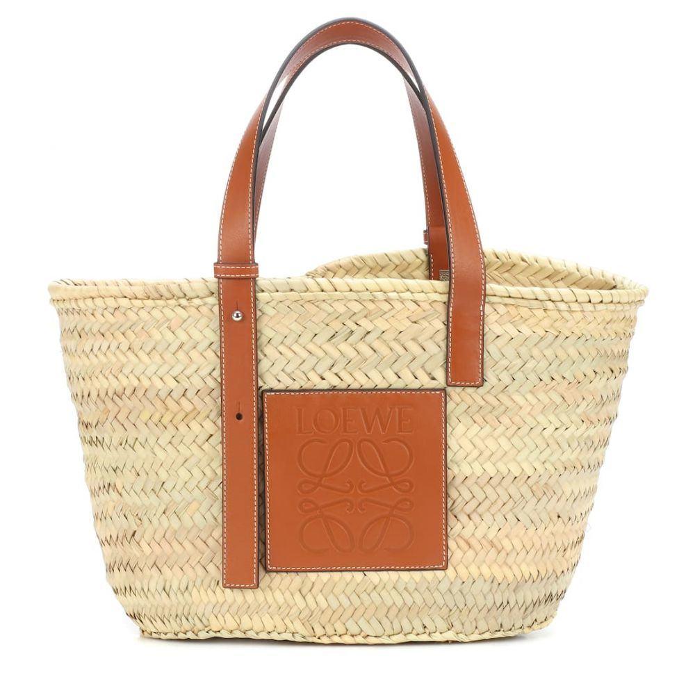 ロエベ Loewe レディース バッグ トートバッグ【Leather-trimmed basket tote】Natural/Tan