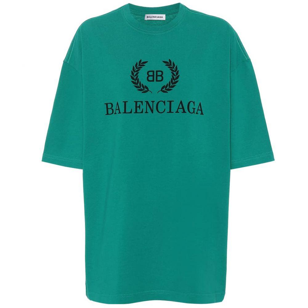 バレンシアガ Balenciaga レディース トップス Tシャツ【Printed cotton T-shirt】Mint
