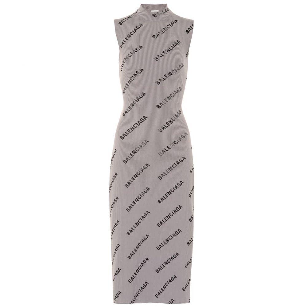 バレンシアガ Balenciaga レディース ワンピース・ドレス ワンピース【Allover Logo knitted wrap dress】Metallic/Black