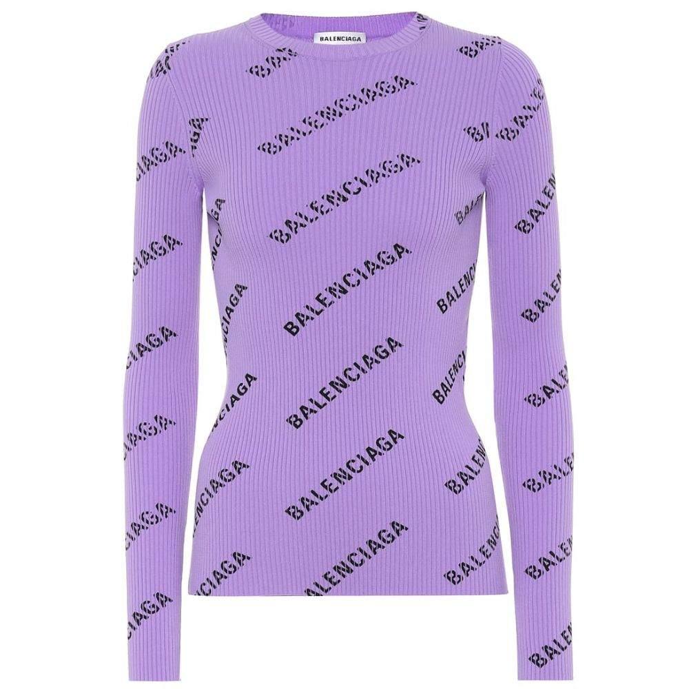 バレンシアガ Balenciaga レディース トップス ニット・セーター【Logo ribbed sweater】Lilac/Black