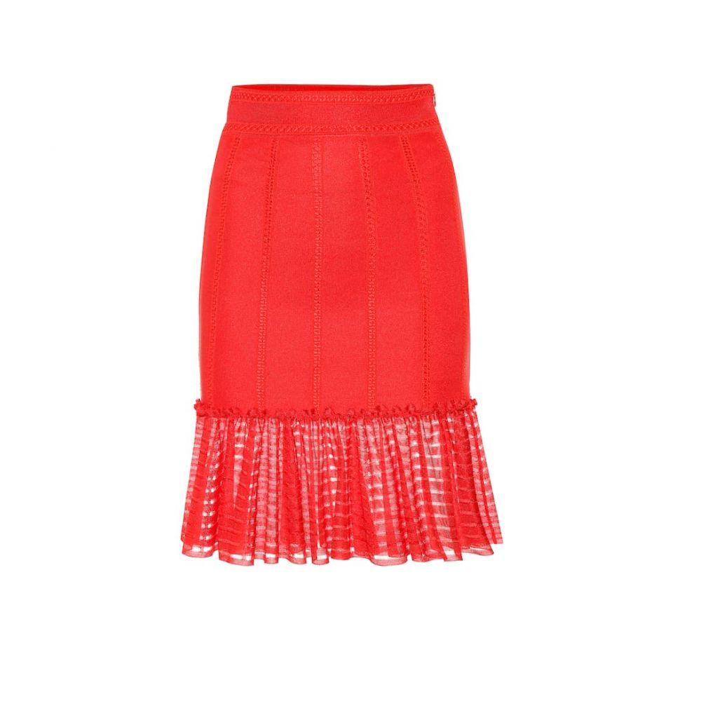 アレキサンダー マックイーン Alexander McQueen レディース スカート ミニスカート【Organza-trimmed knit miniskirt】Lust Red