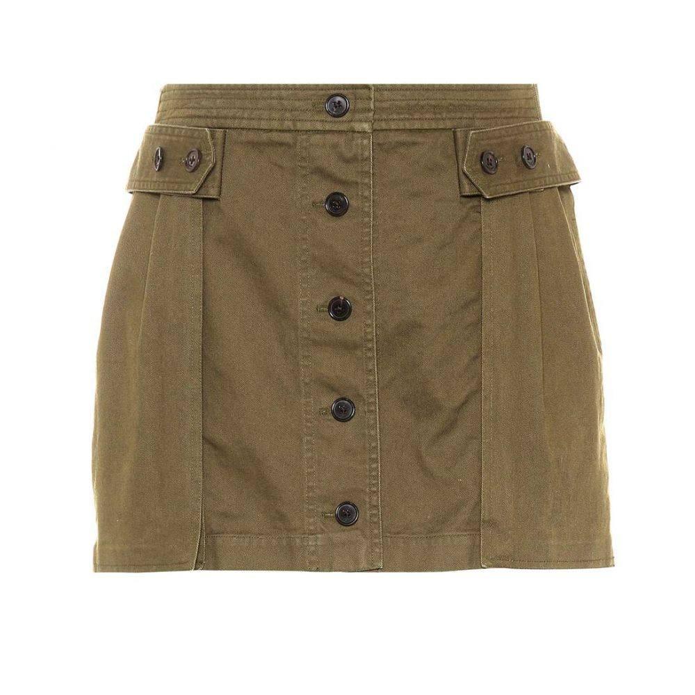 イヴ サンローラン Saint Laurent レディース スカート ミニスカート【Cotton-blend miniskirt】Khaki