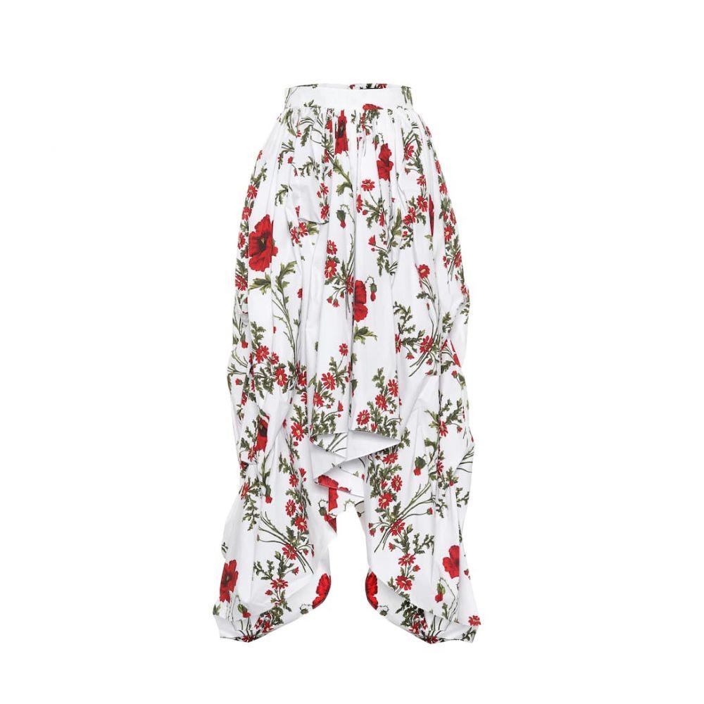 アレキサンダー マックイーン Alexander McQueen レディース スカート ひざ丈スカート【Floral-printed cotton skirt】Ivory Mix