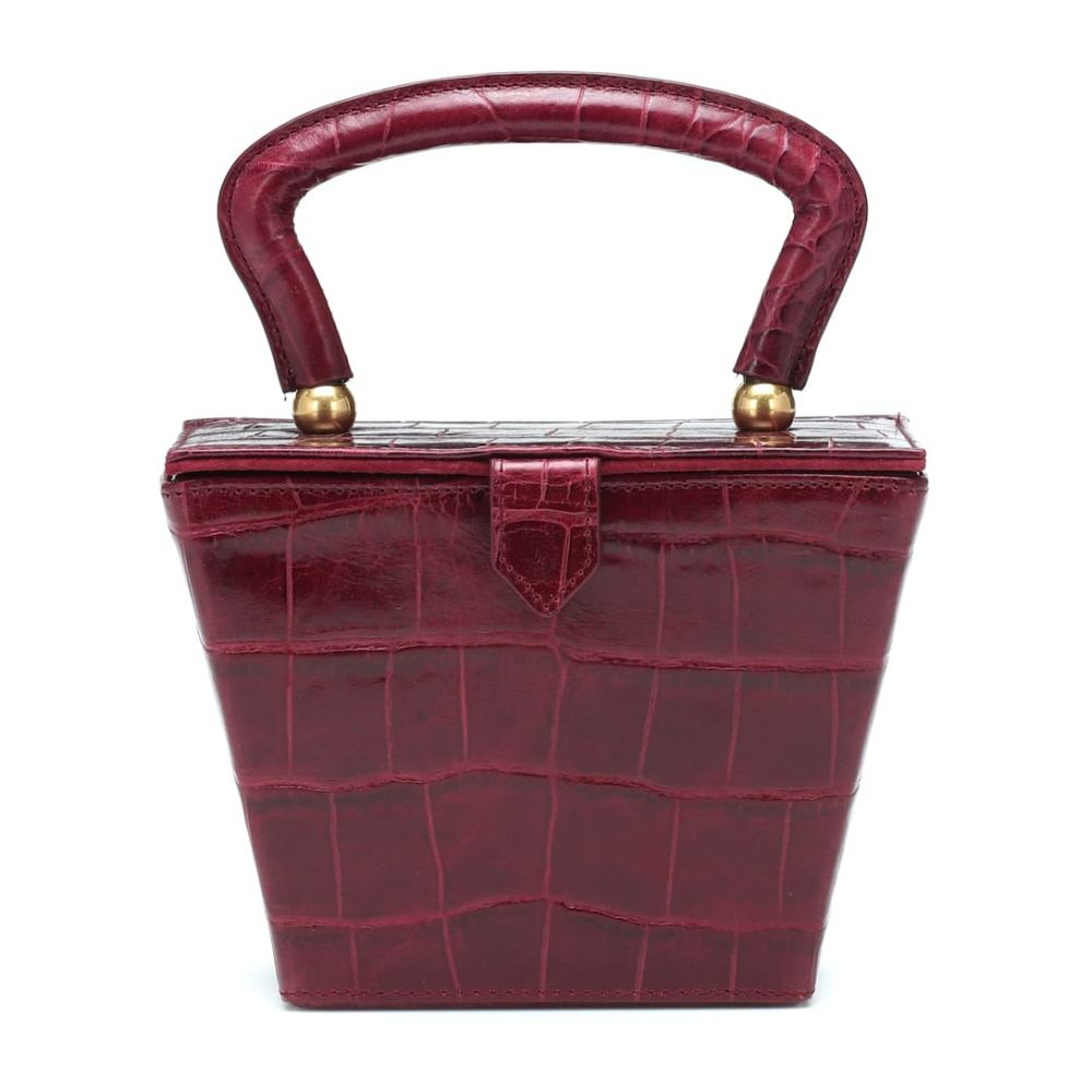 スタッド Staud レディース バッグ【Mini Sadie embossed leather box bag】Garnet Faux Croc