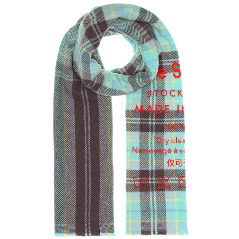 アクネ ストゥディオズ Acne Studios レディース マフラー・スカーフ・ストール【Cassiar checked wool scarf】Grey Turquoise