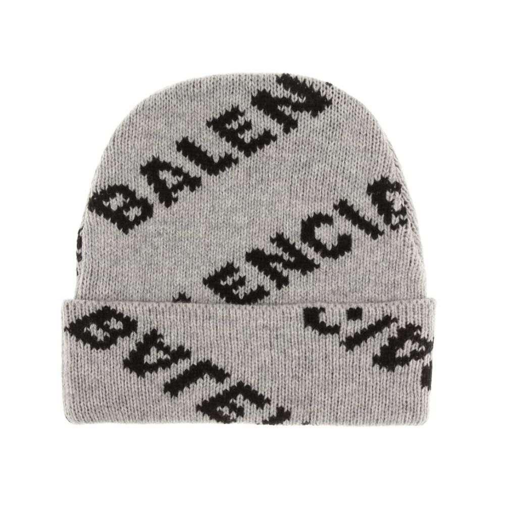 バレンシアガ Balenciaga レディース 帽子 ニット【Intarsia wool-blend beanie】Grey/Black