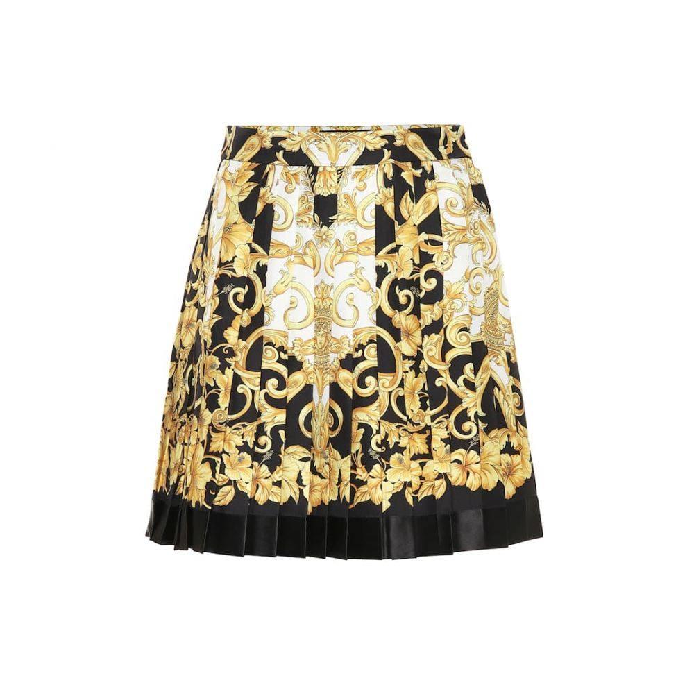 ヴェルサーチ Versace レディース スカート ミニスカート【Pleated silk miniskirt】F Do Nero Stamp Oro