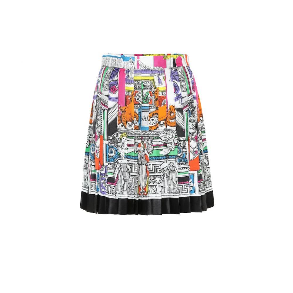 ヴェルサーチ Versace レディース スカート ミニスカート【Pleated silk twill miniskirt】F Do Bianco Stampa