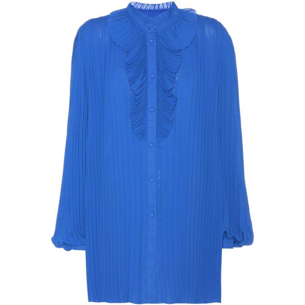 バレンシアガ Balenciaga レディース トップス ブラウス・シャツ【Plisse pleated shirt】Cyan