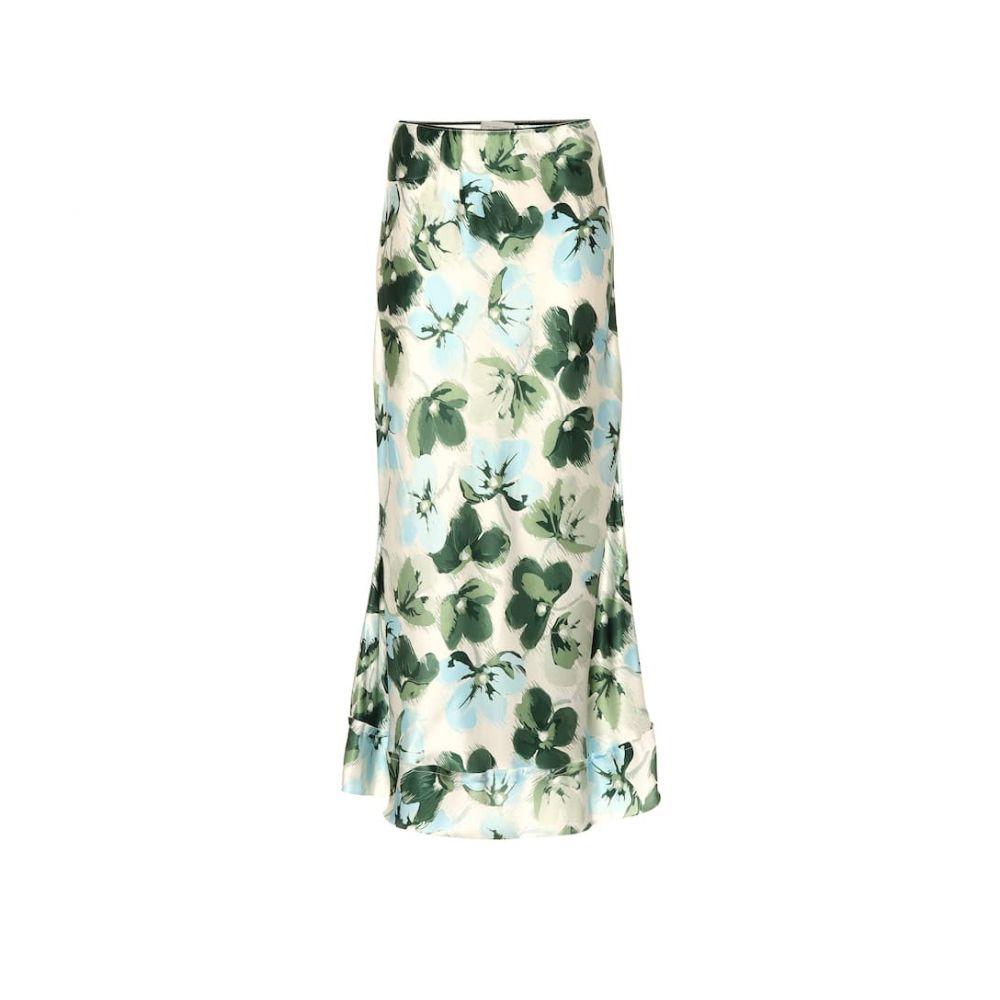 リーマシューズ Lee Mathews レディース スカート ひざ丈スカート【Floral-printed silk skirt】clover