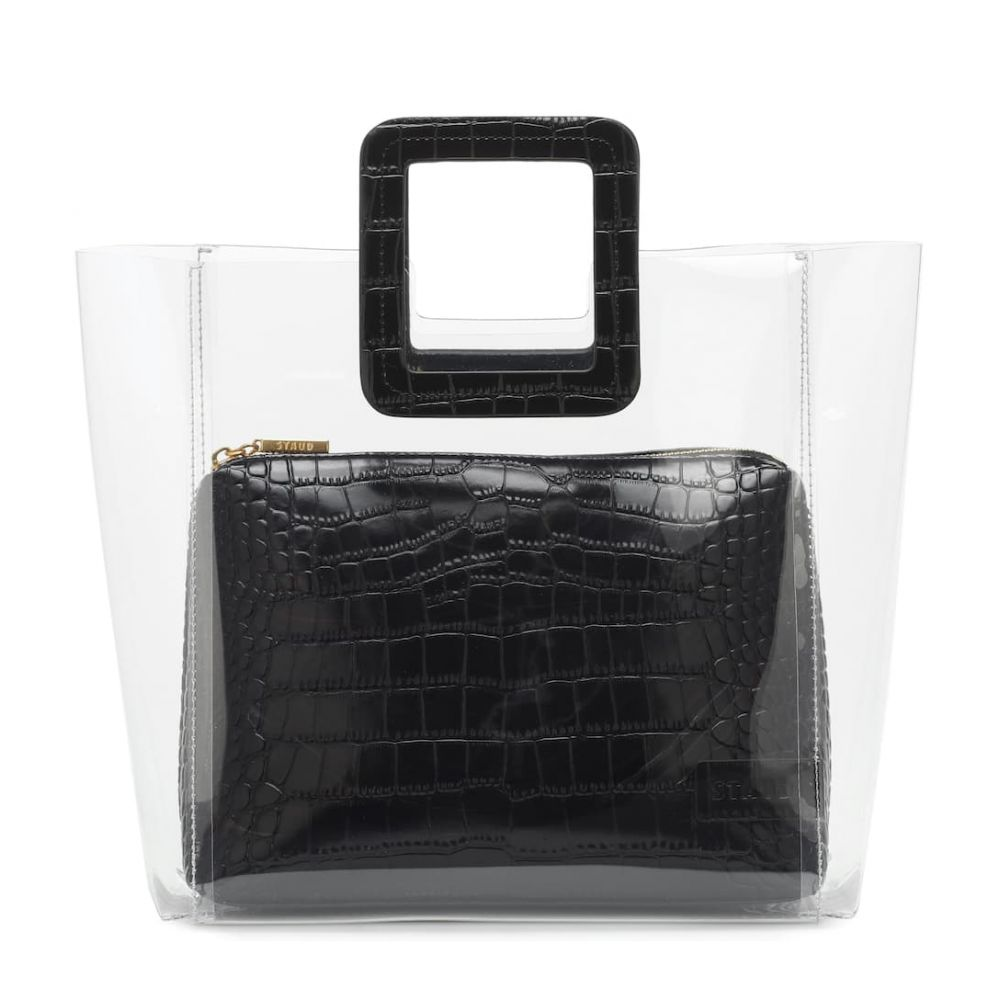 スタッド Staud レディース バッグ トートバッグ【Shirley leather tote】Clear Black Croc