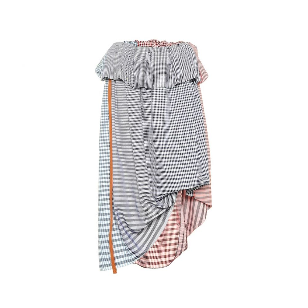 ロエベ Loewe レディース スカート ひざ丈スカート【Checked cotton midi skirt】Blue/Red/White