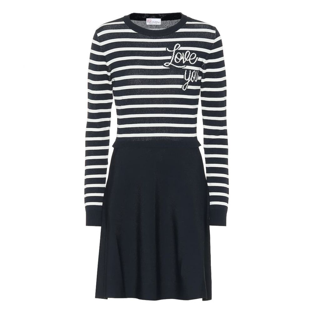 レッド ヴァレンティノ REDValentino レディース ワンピース・ドレス ワンピース【Love You striped knit dress】Blu/Latte