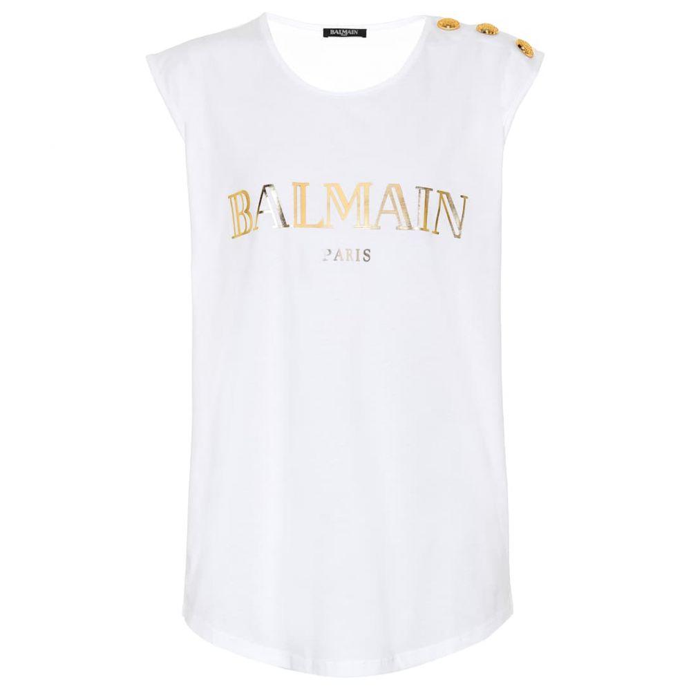 バルマン Balmain レディース トップス ノースリーブ【Printed cotton top】Blanc/Or
