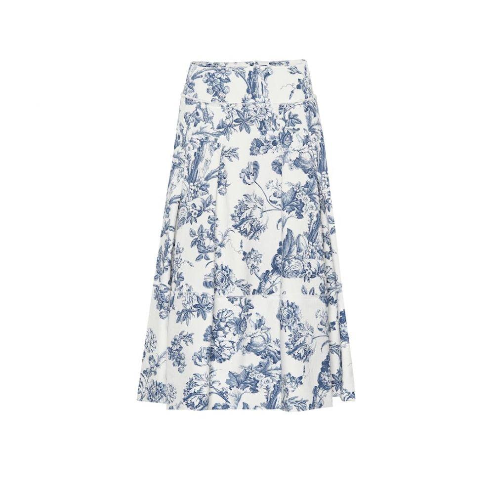 オスカー デ ラ レンタ Oscar de la Renta レディース スカート ひざ丈スカート【Printed stretch cotton skirt】Blue