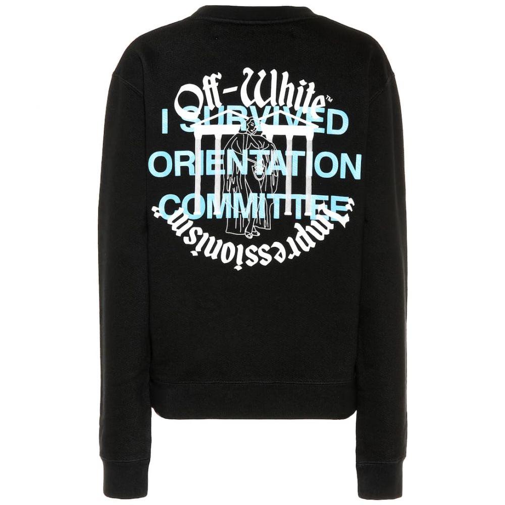 オフ-ホワイト Off-White レディース トップス スウェット・トレーナー【Printed cotton sweatshirt】blackwhite