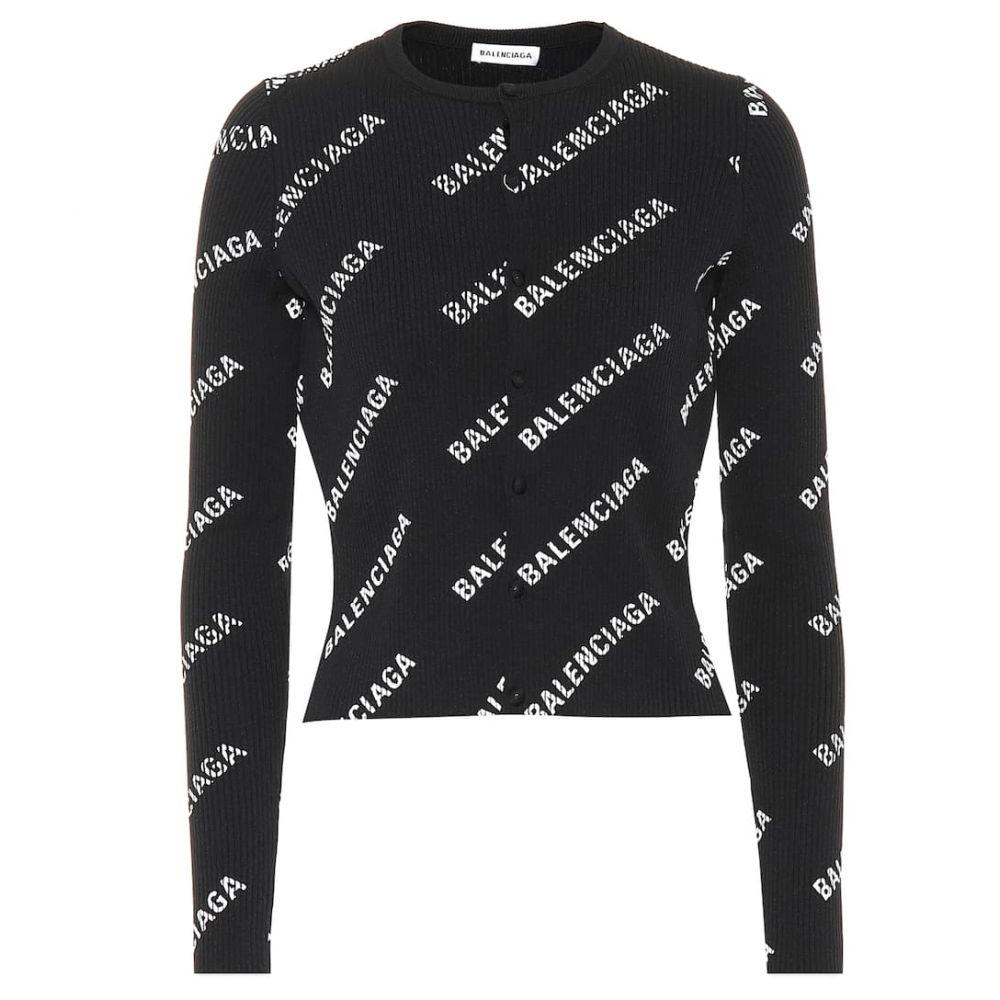 バレンシアガ Balenciaga レディース トップス カーディガン【Logo ribbed cardigan】Black/White