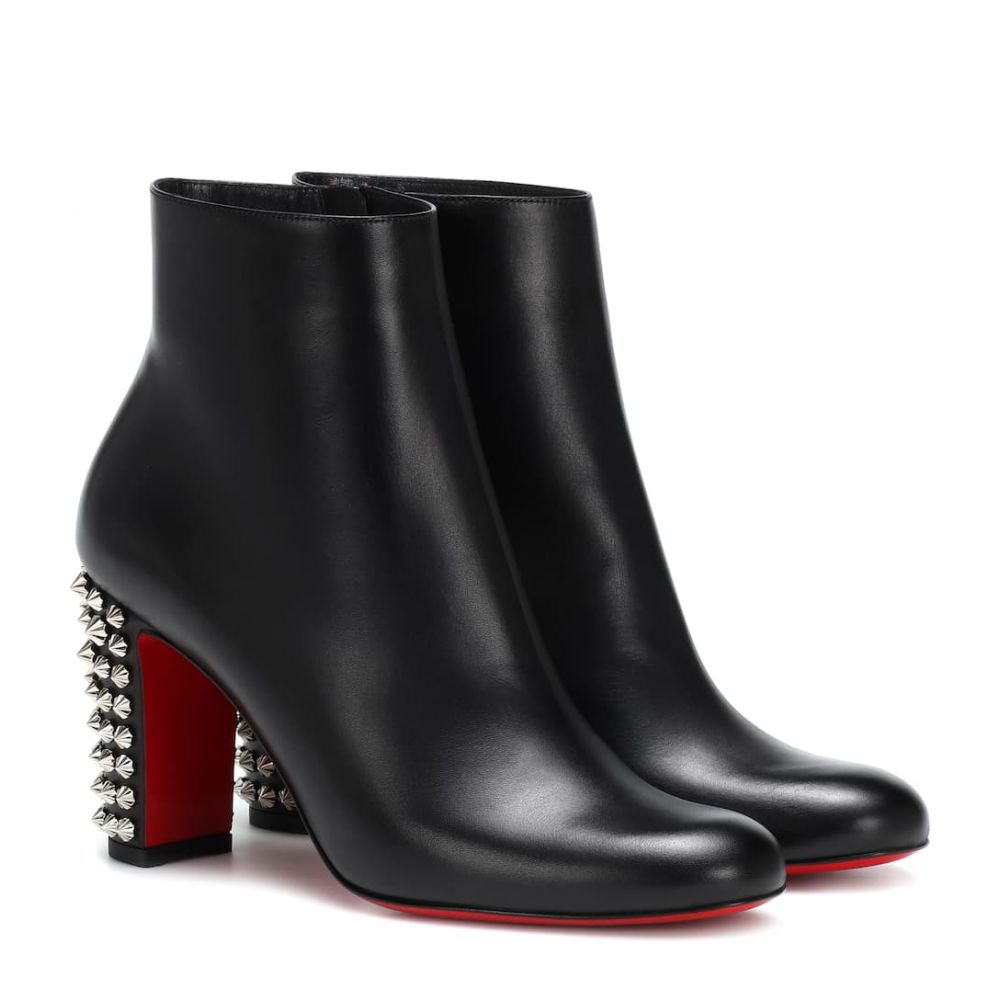 クリスチャン ルブタン Christian Louboutin レディース シューズ・靴 ブーツ【Suzi Folk 85 leather ankle boots】Black/Silver