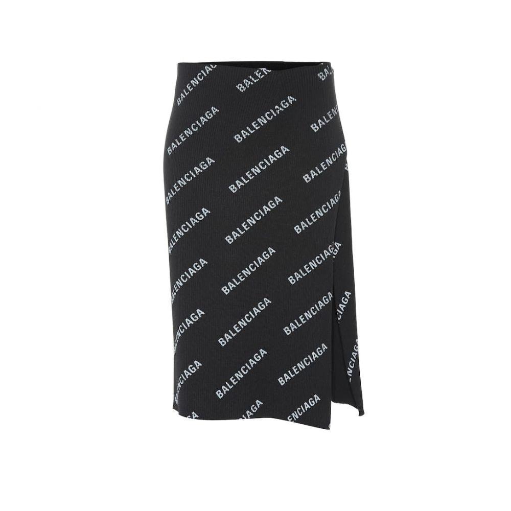 バレンシアガ Balenciaga レディース スカート ひざ丈スカート【Logo-printed ribbed skirt】Black/Metallic